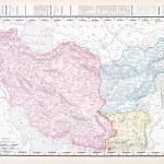 antyczne kolor vintage angielski mapę Iranu afganistan — Zdjęcie stockowe