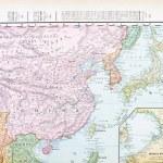 Постер, плакат: Antique Color English Map of China Korea Japan