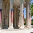 Narrow American Flags Columns Building Washington — Stock Photo