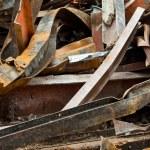 Big Pile Rusty Scrap Steel Girders Demolition Site — Stock Photo #7895689