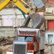 Front End Loader Dropping Scrap Materials Dump — Stock Photo