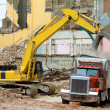 Front End Loader Dropping Demolition Materials — Stock Photo
