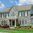 图库照片: Stone Faced Single Family House Home Suburban MD