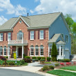 Stock Photo: Sale Brick Single Family House Home SuburbUSA