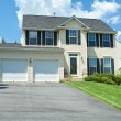 Front View Vinyl Siding Single Family House MD - Stock Photo