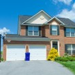 Front Brick Faced Single Family Home Suburban MD — Stock Photo