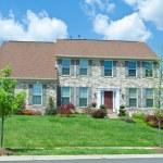 Front Brick Single Family House Home Suburban MD — Stock Photo