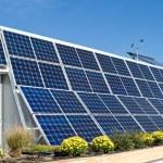 Home Row Photovoltaic PV Solar Panels Anemometer — Stock Photo