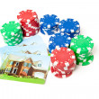 Poker Chips House Playing Cards Isolated Gambling — ストック写真