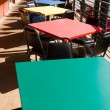 Colorful Tables Chairs Outdoor Restaurant Cafe USA - Stock Photo