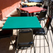 Colorful Tables Chairs Outdoor Restaurant Cafe USA — Stock Photo