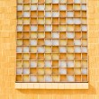 Yellow Window with Opaque Orange White Glass - Stock Photo