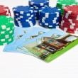 Poker Chips House Playing Cards Isolated Gambling — Stock Photo