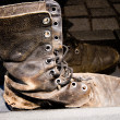 Stock Photo: Army Boot Vietnam Veterans Memorial Washington DC