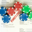 Stack Poker Chips Foreclosure Notice Foreclosed — Stock Photo