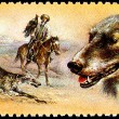 Taigan Kirghiz Dog Hunting with Golden Eagle - Stock Photo