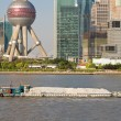 Barge Huangpu River Downtown Shanghai Far Bank Pudong TV Tower — Stock Photo