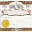 Old Vintage Stock Certificate Empty Boarder - Stock Photo