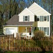 XXXL Single Family Home with Picket Fence in Suburban Maryland - Stock Photo