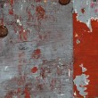Royalty-Free Stock Photo: XXXL Full Frame Red Paint Peeling off Wood Board