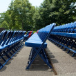 XXXL Rows of Blue Red Metal Folding Chairs Outside — Stock Photo