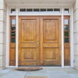 XXXL Wooden Double Door Grand Entrance to a Home - Stock Photo