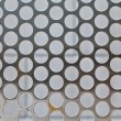 Full Frame Shiny Silver Metal Mesh Grid With Holes - Stock Photo