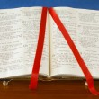 Bible on Stand Open to Book of Psalms Ribbon — Stock Photo
