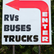 Enter Sign RV Bus Trucks Big Red Arrow Turn — Stock Photo