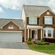 Stock Photo: Front View Brick Single Family House Home SuburbMaryland, USA