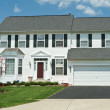 Front View Vinyl Siding Single Family House Home, Suburban Maryl - Stock Photo