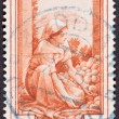 Stock Photo: Drawing WomSorting Fruit, Used ItaliStamp, Cancelled Cance