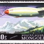 Постер, плакат: Mongolian Soviet CCCP Zeppelin Blimp Air Mail Postage Stamp Moun