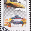 Hungarian Graf Zeppelin Air Mail Postage Stamp Japan Mount Fuji - Stock Photo