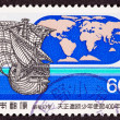 Stock Photo: Stamp Tenshō Embassy 1582 Sailing Ship World Map