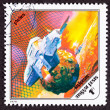 Post Stamp Space Ship Around Phobos, Martian Moon — 图库照片