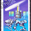 Hungarian postage stamp commemorating the USSR's — Stock Photo