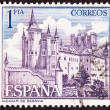 Stamp Segovia Castle, Spain, Ornate Fortification - Stock Photo