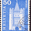 Swiss Stamp Spalen Gate in Basel - Stock Photo
