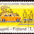 Postage Stamp Traffic Safety Crosswalk Old New Car — Stockfoto