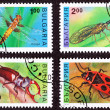 Canceled Bulgarian Postage Stamps, Insects Dragonfly, Mayfly, St — Stock Photo #7897031