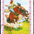 Canceled Mongolian Postage Stamp Bucking Bronco Man Breaking Wil — Stock Photo #7897042