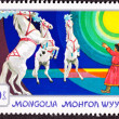 Canceled MongoliPostage Stamp Standing Rearing Horses Perform — Stock Photo #7897044