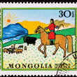 canceled mongolian postage stamp horseback woman herding sheep y — Stock Photo