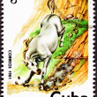 Canceled CubPostage Stamp White Horse Running Down Steep Hill — Stock Photo #7897066