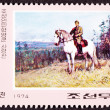 Canceled North Korean Postage Stamp Kim II Song Riding Horse — Stock Photo