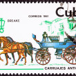 Stock Photo: Canceled Cuban Postage Stamp Horse Team Pulling Break, Brake Car