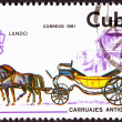 Royalty-Free Stock Photo: Canceled Cuban Postage Stamp Horse Team Pulling Convertible Land