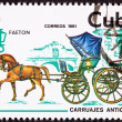 Stock Photo: Canceled Cuban Postage Stamp Brown Horse Pulling Fancy Phaeton C