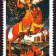Canceled Bulgarian Postage Stamp Saint Demetrius Horseback Spear - Stock Photo
